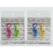 Trombone clé de sol coloris rose, vert, bleu et jaune par 12 ( TROMBONE-CLE-COULEUR)
